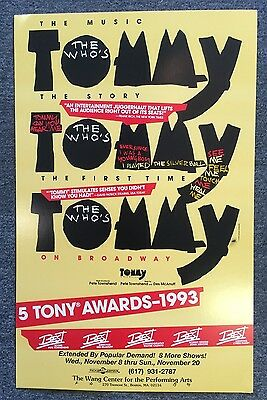 The Who's Tommy Window Card Poster 1993, 14 x 22 Wang Center Boston MA