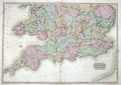 SOUTHERN ENGLAND Pinkerton antique hand coloured map 1811