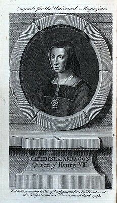 CATHERINE OF ARAGON, QUEEN OF HENRY VIII  original antique portrait print 1748