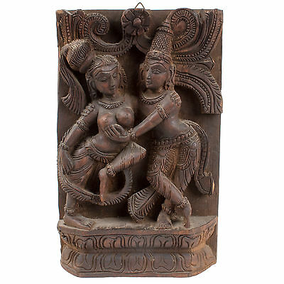 Südindien 20. Jh. Holzrelief - A South Indian Carved Wood Panel - Bois Inde Sud