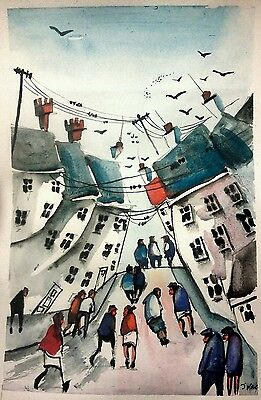 Colourful town #2310 original Watercolour   painting by jndox  size A4