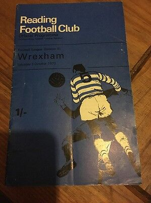 Reading FC Official Programme Wrexham 3rd October 1970