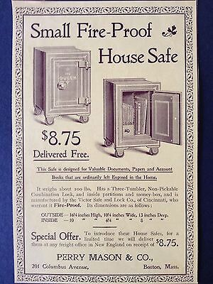 Antique 1896 Ad (1800-8)~Fire-Proof House Safe. Perry Mason & Co. Boston