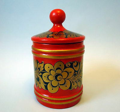 Vintage Russian Khokhloma Hand Made Hand Painted Wooden Lacquer Box Jar With Lid