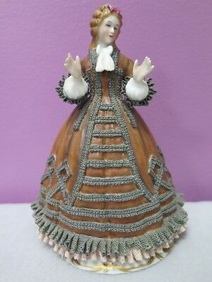 Old Sitzendorf Dresden Lace Figurine - Godey's Fashions Lady October 1863