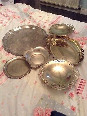 6 X Items epns silver plate vintage Bowls Trays