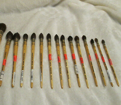 Winsor & Newton Series 250 PURE Squirrel MOP Brush LOT OF 14 Brushes BUNDLE NEW