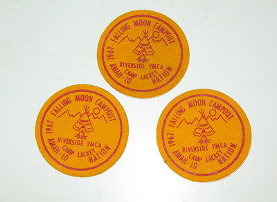3 Falling Moon Campot Camp Lackey Riverside YMCA Indian Guides Patches 1967