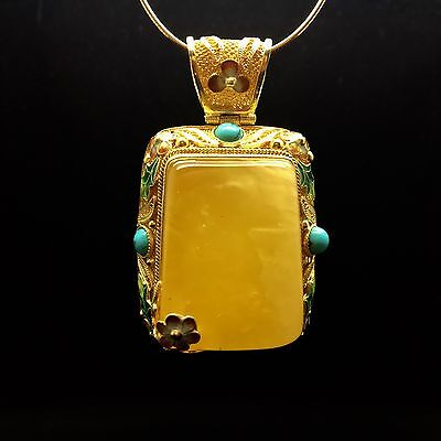 38g Natural Baltic Amber Pendant Yellow Beeswax Gold Silver Bernstein Hupo 琥珀色