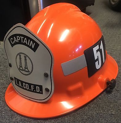 LOS ANGELES COUNTY FIRE DEPARTMENT LACoFD STATION 51 ORANGE CAPTAIN FIRE HELMET.