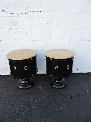 Pair of Round Marble-Top Painted Mid-Century Side Tables / End Tables 7369