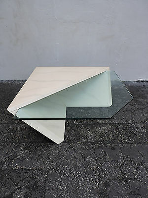 Vintage Mid Century Modern Glass Top Coffee Table with Base 6345
