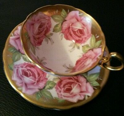 AYNSLEY-ENGLAND-BONE CHINA HANDPAINTED  CUP and SAUCER with PINK ROSEs and GOLD
