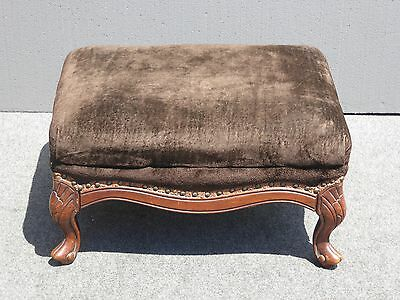 Vintage French Provincial Brown Velvet Wood OTTOMAN Bench w Decorative Nails