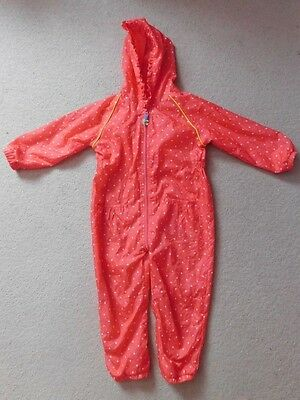 * Blue Zoo Pink Polka Dot Splash Suit Hooded Folds into Bag Age 4-5 Years *