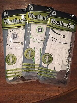 Women's FJ WeatherSof Medium Large Golf Gloves Three Pair Left