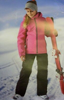 BNWT Girl's Padded Ski Jacket & Sallopettes Black & Pink Age 7 - 8 Years