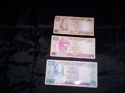 Cyprus Banknotes - 3 x £1,  1 x £5,  1 x £20   all  year  2001