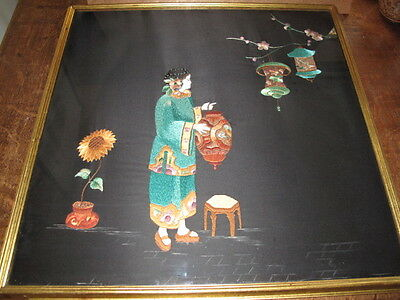 Vintage Chinese Textile Embroidered Picture Hand Pianted Faces