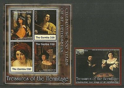 Gambia 2004 Art Paintings Hermitage Capriolo Holbein Trioson  Dossi 2 Sheets Mnh