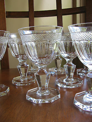 Cut Crystal Diamond Band & Panel Stem LOT 6 Sherry Cordial Goblet Glass 2 oz
