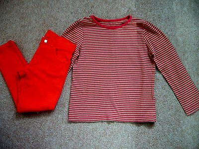 Zara Stretch Jeggings 5-6 Years And Mothercare Striped L/s Top