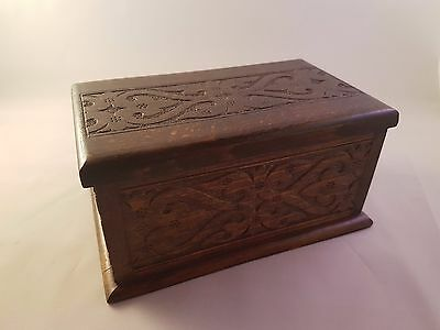 Musical Relief Wooden Cigarette Trinket Box with Brass Hinge