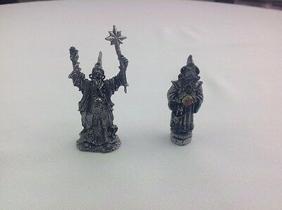 Pair Of Pewter Wizards, No Makers Marks, Star Wand, Crystal Ball, Skull Necklace