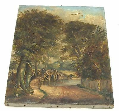 19thC Painting Oil on Canvas - Bridge over water Country Lane Landscape Picture