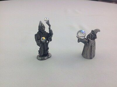 Pair Of Pewter Wizard Figurines, Plastic Crystal Balls And Staff, Desk Toys