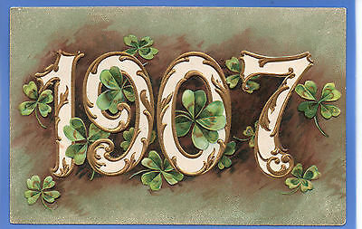 Old Vintage Misch & Co Embossed Postcard 1907 New Year Clover