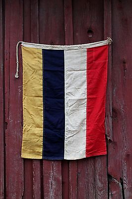 Antique WWII American Battleship Division Signal Flag Pieced Sewn Wool Vintage
