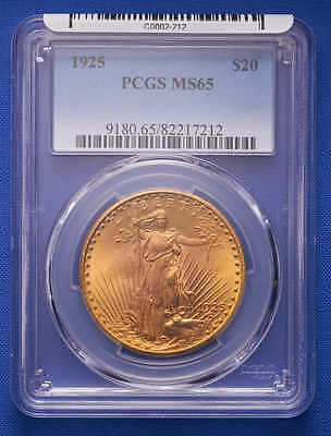 1925 $20 St. Gaudens Double Eagle Gold Coin PCGS MS 65