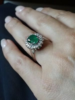 Estate 2.50 TCW Emerald and Diamond Cocktail Ring 14K White Gold