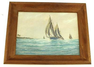 19thC Coastal Ship on Board Painting - Sail Boats On Coast Gilt Frame Picture