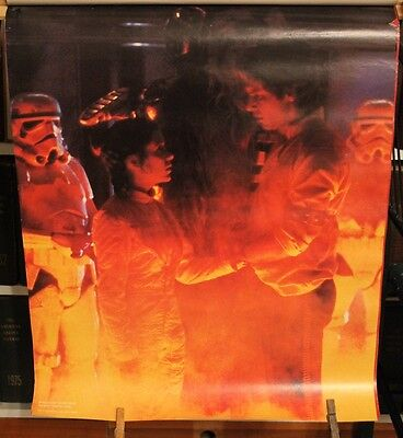 Vintage 1980 Star Wars Empire Strikes Back poster - Leia and Han