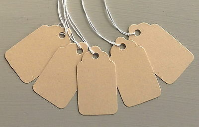 Small Brown/Manilla Scallop Price Tags - 50 & 100 Tag Packs