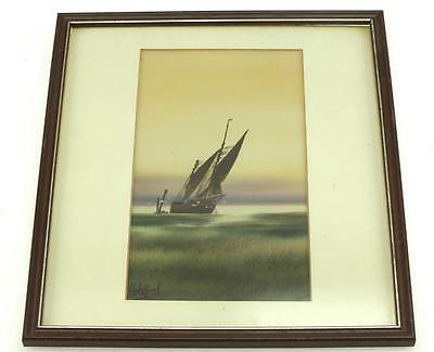 20thC Coastal Ship Watercolour Painting Sail Boats On Coast Gilt Frame Picture