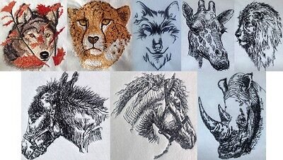 Completed Embroidery Wildlife Wolf Cheetah Donkey Horse Giraffe Rhino Lion +