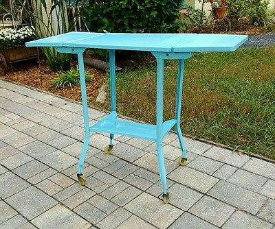 Vintage Mid Century Modern Aqua Typewriter Table Metal Desk Rolling Industrial