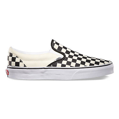 Vans CHECKERBOARD SLIP-ON BLACK/OFF WHITE CHECK  Canvas Classic Shoes Fast Ship