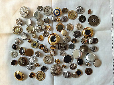 Collection of 90 Metal Buttons ..mainly vintage...dress making ...craft etc