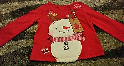 Baby Snowman Christmas top BNWT from Next size 6-9 months lights up!!