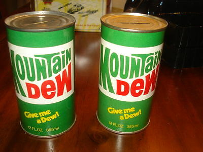 Two Vintage Mountain Dew Bank Cans Never Opened
