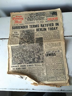 Original Leicester Evening Mail newspaper VE Day 8 May 1945 WWII