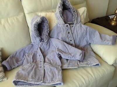 2 girls lavender Next warm coats ages 2 and 3