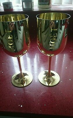 Set of 2 Moet & Chandon Gold Acrylic Glasses Goblets Flutes RARE