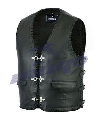 Mens Motorcycle Full Leather Waistcoat Vest with Leather Linning