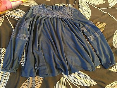 'NEXT' girls pretty blue lace swing long sleeved top Age 10 Years