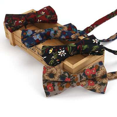 High Quality Men's Bow Tie Adjustable Bowtie Cotton Vintage Flower Butterfly